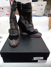 """Modern Vintage Black/Gray Leather Boots Size 39.5 US Size 9 Zip Up 3.75"""" Heel"""
