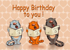 3D Motion Lenticular Postcard -CATS Singing Happy Birthday to you! Greeting Card