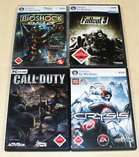 4 PC SPIELE SAMMLUNG CALL OF DUTY CRYSIS BIOSHOCK FALLOUT 3 EGO SHOOTER