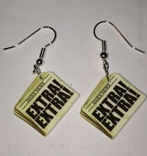 Newspaper Earrings News Paper Daily Extra Charms !!! Fun Charms