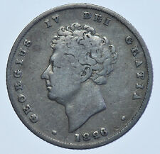1826 SHILLING BRITISH SILVER COIN FROM GEORGE IV FINE