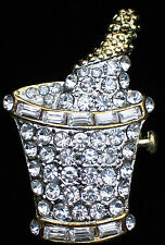 NEW YEARS EVE WEDDING PARTY CELEBRATION CHAMPAGNE BOTTLE ICE BUCKET PIN BROOCH 2