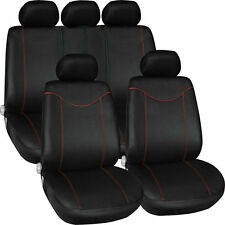 11 pcs Full Seat Cover Set Car Seat Cover Low Front Back Set Black + Red Edge F5