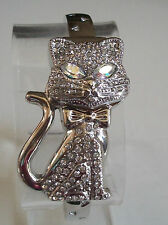 Designer Style Silver finish CAT covered face stone  fashion watch bangle