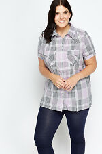 C&A Ladies Checked Casual Plus Size Short Sleeve Shirt, UK Size 26/28