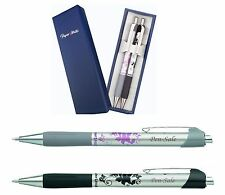 Personalised Engraved Papermate Flower Ballpoint Pen x 2 Steel Gift Boxed