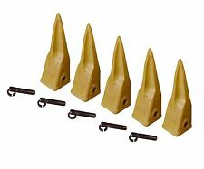 Backhoe Bucket Cat Style Tiger Teeth with pins & retainers, Set of 5, 1U3202TL