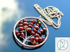 Handmade Garnet Tree of Life Natural Gemstone Pendant Necklace 50cm Chakra