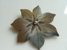 Marlor Sterling Pin Poinsettia Flower Vintage Sterling Silver Pin