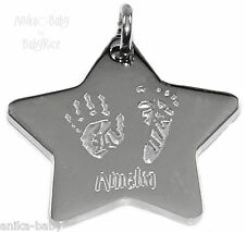 Stainless Steel Star Shape Pendant Personalised YOUR Babys Handprint Footprint