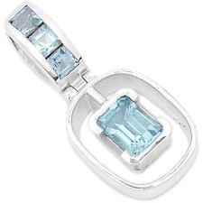 Blue Topaz 925 Sterling Silver Pendant Jewelry P1322B