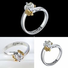 MOM FASHION RING GIFT JEWELRY CUBIC ZIRCONIA SILVER PLATED NEW FAMILY BOY/GIRL