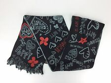 Coach Poppy Black, Red  & Gray Graffiti Silk Plaid 100% Silk Long Scarf