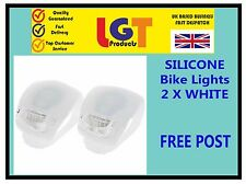 2 X WHITE LED SILICONE BIKE BICYCLE CYCLE FRONT / REAR CAMPING BACKPACK LIGHT