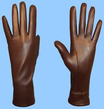 NEW WOMENS size 7 GENUINE BROWN KID LEATHER CASHMERE LINED GLOVES