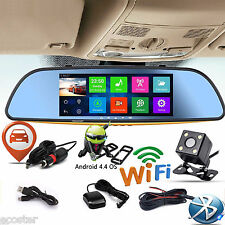 "7"" Android 4.4 Car Rear view Mirror Navi GPS + 1080P DVR + Wifi + Backup Camera"