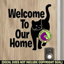 WELCOME TO HOME SIGN CAT Front Door Sign Decal Sticker Feline Kitty BLACK
