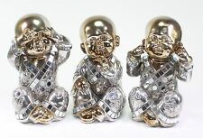 Feng Shui Bronze Hear & See & Speak No Evil Buddha Monk Home Decor Statues