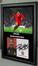 Ryan Giggs Unique Tribute Framed Canvas Print & Hand Signed Club Card Great Gift