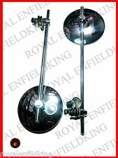 New Royal Enfield  Handlebar Clamps on Round Side Mirror straight Set Chromed