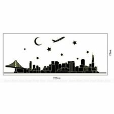 New York Skyline City Night Glow in the Dark Removable Wall Sticker Decal Art