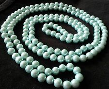 "PN2304B Vintage Art Deco style LONG 56"" 110g AQUA shell pearl necklace Plum BOXD"