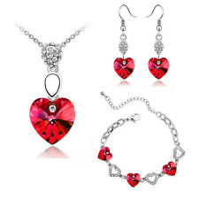 Red Crystal Hearts Jewellery Set Earrings Necklace & Bracelet Valentines S406
