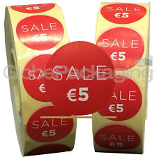 6000 x 'SALE €5' EURO Retail Self Adhesive Shop Price Labels Stickers 35mm