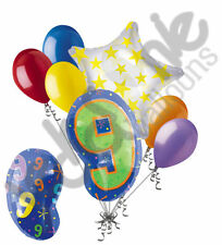 7 pc 9th Birthday Theme Balloon Bouquet Party Decoration Number 9 Primary Color