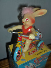Tin Mechanical windup Bunny Tricycle Easter Japan litho W/box NOS WORKS! New