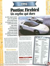 Pontiac Firebird Formula Trans Am V8 1993 GM USA Car Auto Voiture FICHE FRANCE