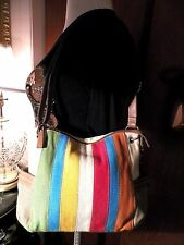 RELIC SHOULDER BAG MULTI-COLOR FABRIC/LEATHER TRIM  ROOMY! CUTE!