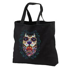 Sugar Skull Pitbull Dog New Black Cotton Tote Bag Day of the Dead