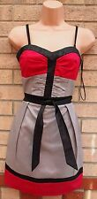 COTTON CLUB GREY PINK BLACK BELTED QUILTED FORMAL PARTY RARE TUBE DRESS 10 S