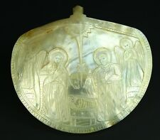*Antique 1860's Fine JERUSALEM Carved Mother-of-Pearl Shell Plaque, Nativity