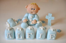 HANDMADE EDIBLE CHRISTENING BABY WITH COMFORTER DECORATION CAKE TOPPER BOY GIRL