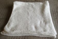 HAND KNITTED BABY PRAM/COT BLANKET FLUTTERBY SUPERSOFT WOOL WHITE  83cm X 83cm