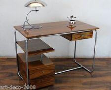 ORIG Schreibtisch Stahlrohr Chrom Holz Vichr Slezak Thonet Desk Bauhaus Art Deco