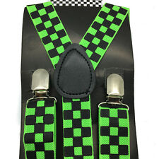 8 Colors Checker Style Men Women Clip-on Adjustable Suspenders Elastic Y-Shape