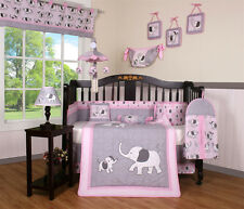 Elephant Baby Girl Nursery CRIB BEDDING SET 14PCS Including Mobile