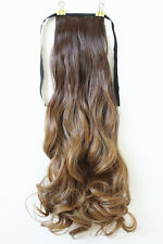"22"" Clip In Ribbon Ponytail Hair Piece Extension Long Curly Ombre Blonde 8/27"