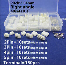 JST 2.54mm 2 3 4 5Pin Right Angle Male Female Connector plug & crimps x 40 SETS