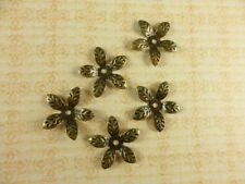 50 Antique Brass Plated Flower Beadcaps Findings 33520