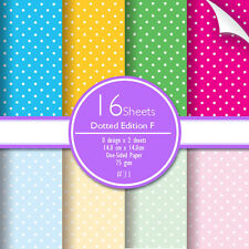 Scrapbook Paper Polka Dot 16 sheets Pale/Bright Pink Yellow Green Blue Red Color