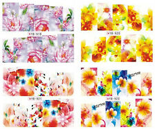 4 Sheets Nail Manicure Tips Water Transfer Decals Sticker Flowers 919-922
