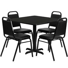 """Restaurant Table Chairs 36""""Square Black Laminate with 4 Trapezoidal Back Banquet"""