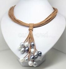 Fashion Jewelry White Black Pearl leather Beauty magnet Necklace AAA 22-24""