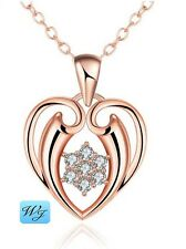 Real Ladies Girls Simulated Diamond Angel HEART Pendant Necklace Rose Gold G/F