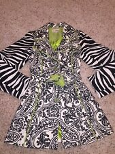 3 Sisters XS Black White Zebra Floral Textured Jewel Button Lined Coat LN Funky