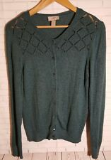 Ann Taylor Green Button Down Cardigan Womens Size Large